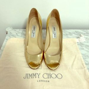 Jimmy Choo 110mm Biel Peep Toe Wedges